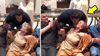 Salman Khan's CUTE Moment With Mother Salma Khan At Her 71st Birthday Celebration 2017