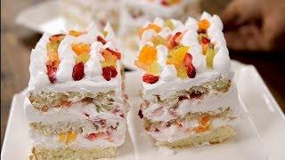 सबसे इजी तरीका फ्रूट पेस्ट्री बनाने का - no heat fruit pastry cake easy recipe cooking shooking