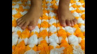 make pom pom floor mat , rug ,table mat , t v cover    (चटाई )without salai and crochet