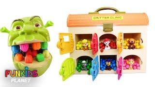 Best Learning Colors for Children - Paw Patrol Hospital Shrek Eats Rainbow Gumballs To Teeth Change!