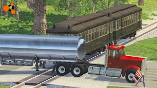 Beamng drive | Subway Train Crashes #1 (with real sounds, railway crossing crashes, road train)