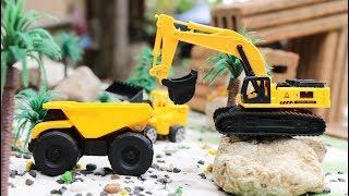 รถของเล่นคันจิ๋ว รถตักทราย รถแม็คโครขุดทราย รถดั้มบรรทุก Excavator and dump truck