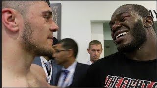 CLASS! - DAVE ALLEN & LENROY THOMAS SHARE A MOMENT AFTER THEIR COMMONWEALTH CLASH