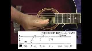 Tutorial for Tujhe dekha to ye jana sanam song on guitar