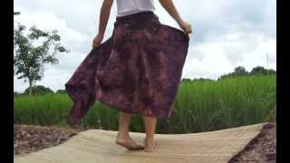 46834 Japanese Boho Girl Skirt Pull String Side Section Rough Washed Purple Coral