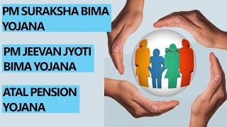 [Hindi] PM Suraksha Bima yojana, PM Jeevan jyoti Bima yojana and Atal pension yojana