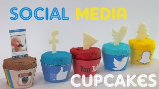 SOCIAL MEDIA CUPCAKES | Instagram, Snapchat, Facebook, YouTube & Twitter - In CAKE form!