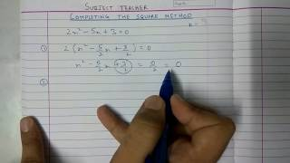 Completing the square method for Exercise 4.3 Quadratic equations maths class 10
