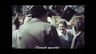 Sharon Tate and Roman Polanski visiting the set of a Fellini film.
