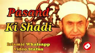 Pasand Ki Shadi ❤️ Maulana Tariq Jameel Bayan ❤️ Islamic Whatsapp Status Video