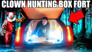 KILLER CLOWN HUNTING BOX FORT CAR!! 📦😱 Scary Ghost Hunting At 3:00 AM