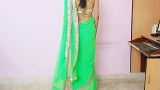 How To Wear Backless Sari Blouse-How To Wrap Backless Saree Blouse/Saree draping Tutorial