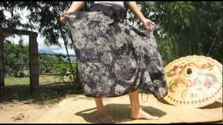 46887 Japanese Boho Girl Skirt Pull String Side Section Rough Washed Black Coral
