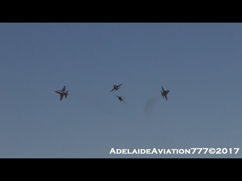 4  F/A-18A/B Hornets Formation Display! Avalon 2017!