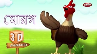 Cock Rhyme in Bengali | বাংলা গান | Bengali Rhymes For Kids | 3D Bird Songs in Bengali | Poems