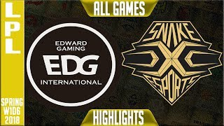 EDG vs SS Highlights ALL GAMES   LPL Spring 2018 S8 W1D6   Edward Gaming vs Snake Esports Highlights