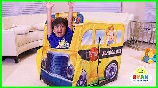 Ryan Pretend Play with School Bus Tent Fun!