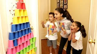 Kids Pretend Play With Colored Cups and Surprise Eggs with Toys