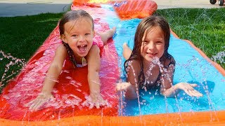 FIRST GIANT SLIP N SLIDE! 💦 AT HOME WATER PARK!