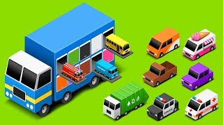 Learn Colors with Truck Transporter Street Vehicles Toys - Toy Cars for KIDS   Little Brain Works