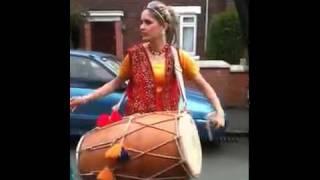 Punjabi Girl Playing Dhol On Streets Of London