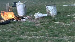Rocket Motor Into Fire - How To Start A Fire The Cool Way