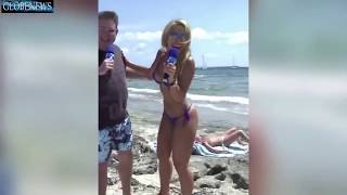 Sexy  Brazilian TV Star Sabrina Sato interviews topless sunbathers on a Rio beach viewers go crazy