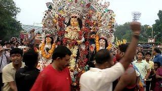 Durga Puja 2014 - Durga immersion (visarjan) scenes on Dashami at Babughat (pt-1)