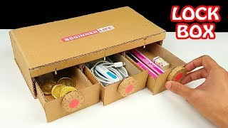 How to Make Personal Lock Box from Cardboard at Home