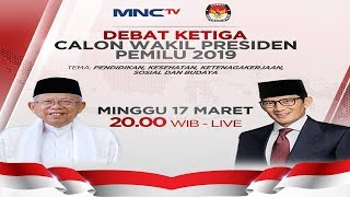 LIVE NOW! Debat Ketiga Calon Wakil Presiden Pemilu 2019