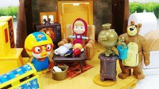 마샤 와 곰 하우스 뽀로로 폴리 장난감놀이 - 토이몽 Masha and the Bear house pororo toys play