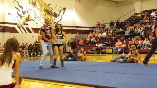 Football players and Cheerleader Dance