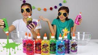 DESAFIO DO SLIME COM 3 CORES DE COLA E OLHOS VENDADOS!! 3 Colors Of Glue Slime Challenge!!