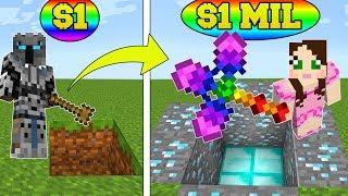 Minecraft: 1 DOLLAR SHOVEL VS 1,000,000 DOLLAR RAINBOW SHOVEL!!! Crafting Mini-Game