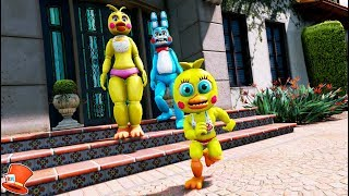 ADVENTURE TOY CHICA RUNS AWAY FROM HER BAD PARENTS! (GTA 5 Mods For Kids FNAF RedHatter)
