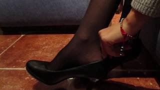 Nylon Feet Tickling in the Waiting Room ( Black Nylon )