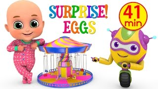 Kids Toys - Swing Ride at amusement park    Surprise Eggs unboxing Toys for Kids