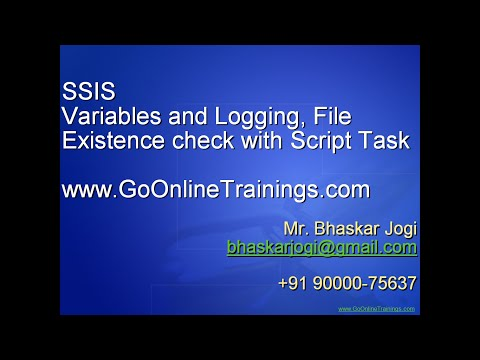 SSIS Part12 - Variables and Logging, File Existence check with Script Task