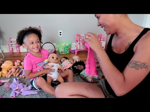 Imani and Mommy Pretend Play with Baby Dolls Toys Dress Up and Feeding