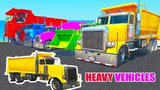 Learn COLORS w HEAVY VEHICLE 3D Parking Spiderman cars cartoon for Kids Nursery Rhymes for childrens