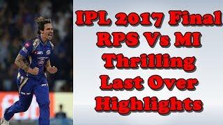 IPL 2017 Final RPS Vs MI Last Over Highlights | IPL 10 Final Mitchell Johnson Last Over Highlights