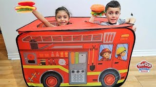 Pretend Play with Food Toys Cooking and Fire Truck! HZHtube Kids Fun