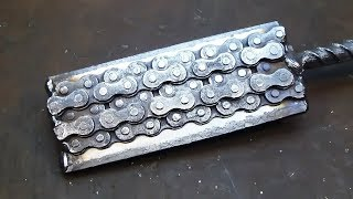 Damascus steel made from moto chain