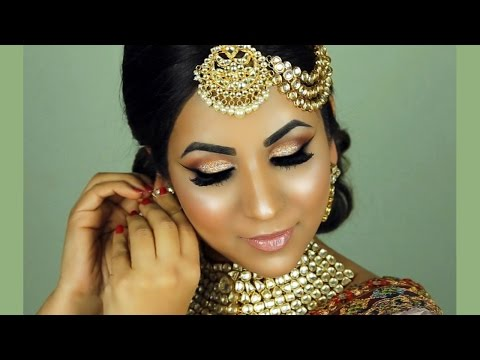 Step-by-Step South Asian/Indian Bridal Makeup (Glitter Eyes, Nude Lips)