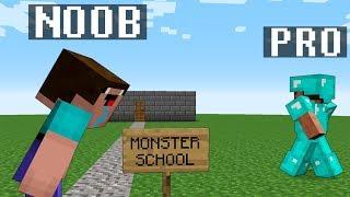 Minecraft Noob vs. Pro : MONSTER SCHOOL ANIMATION challenge 2 - funny Minecraft Battle