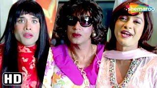 Dressed as female Ajay Devgn, Shreyas Talpade, Tushar comedy scene from Golmaal Returns - Kareena