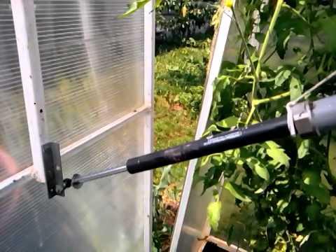 Автомат для проветривания теплицы из амортизатора