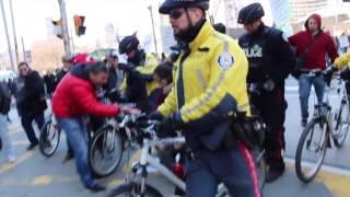 ANTIFA Toronto Vs Free Speech Activist | POLICE RAM ANTIFA WITH BIKES