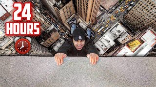 24 HOUR OVERNIGHT CHALLENGE ON A ROOF! | IMPOSSIBLE 24 HOUR CHALLENGE (SECURITY CHASED US!)