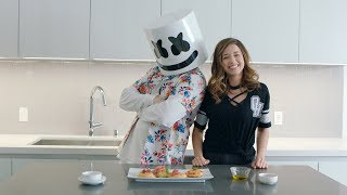 Making MINI PIZZA with POKIMANE | Cooking With Marshmello